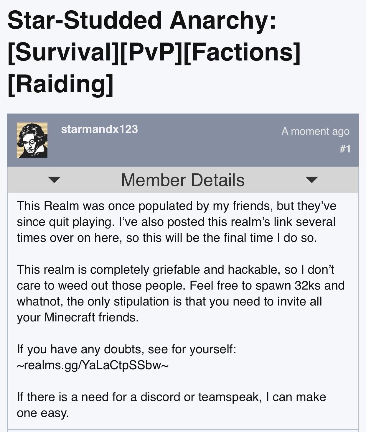 Bedrock Minecraft Realm for u