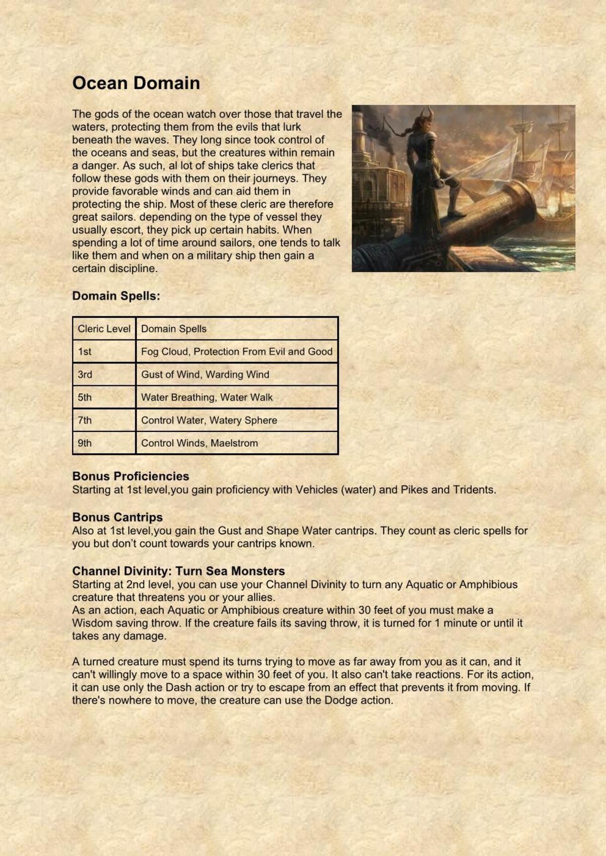 5e Cleric Subclass: Ocean Domain