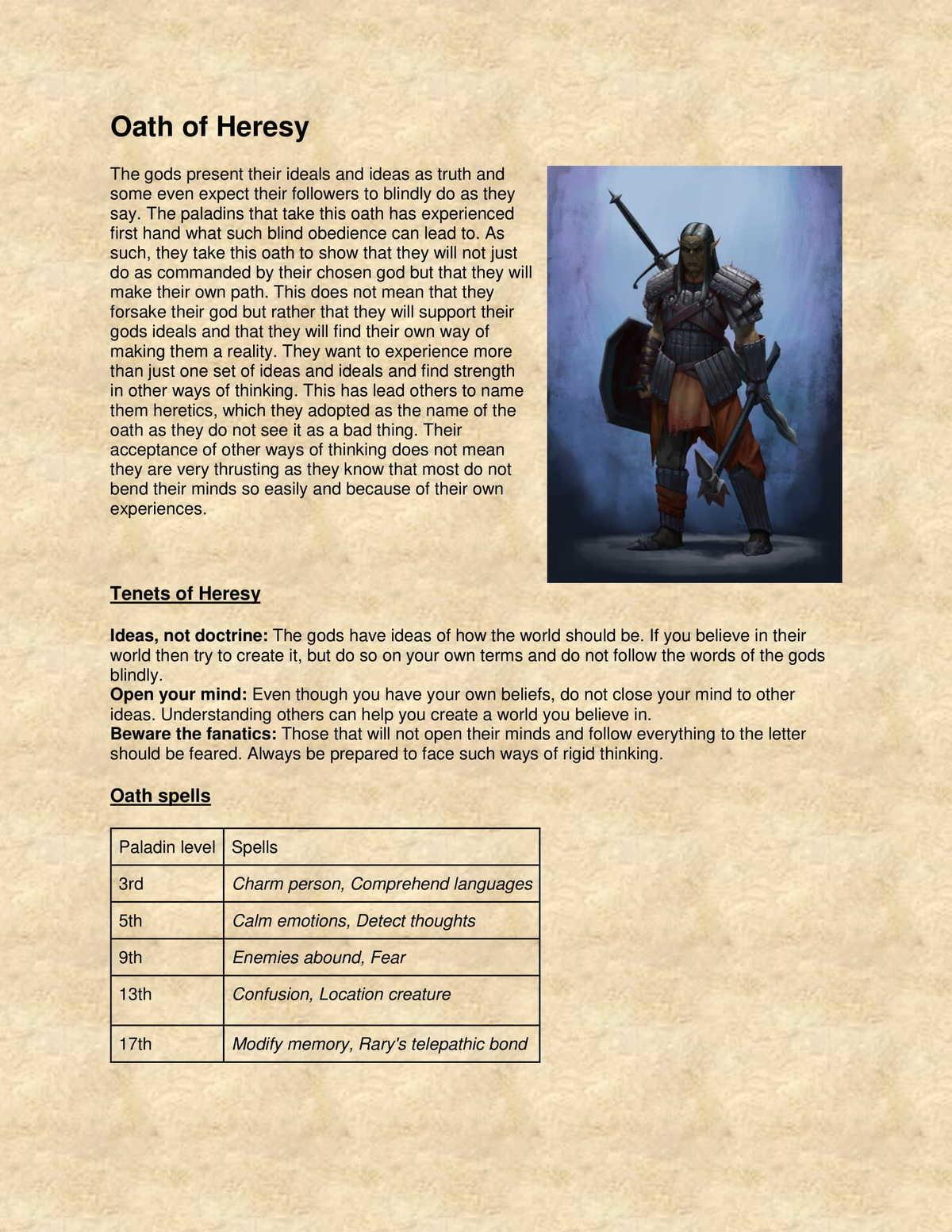5e Paladin subclass: Oath of Heresy