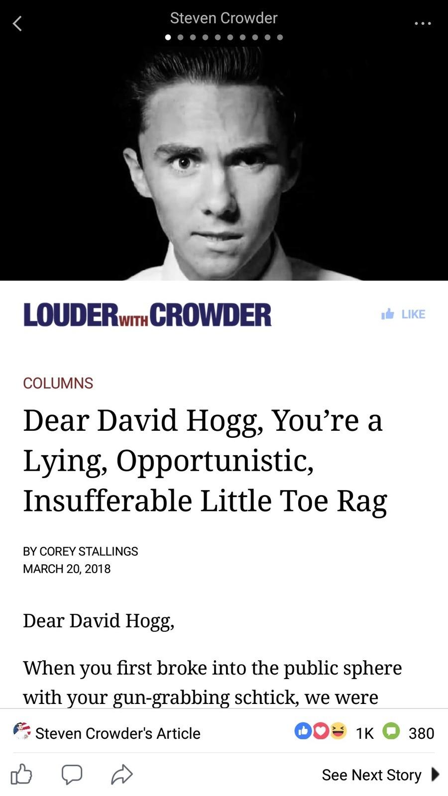 louder with crowder on david hogg