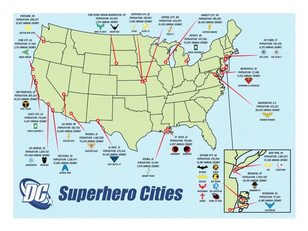 Marvel Map Of New York.Marvel Dc Superhero Map