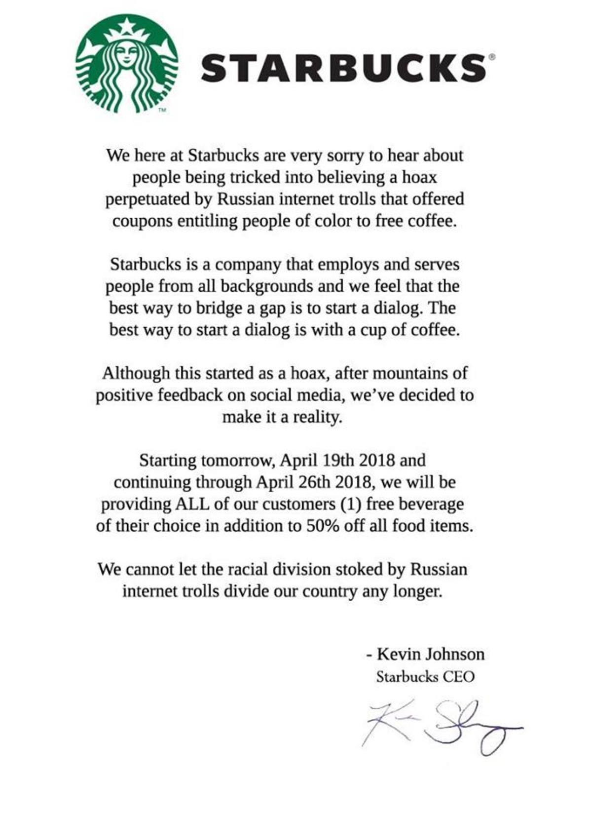 Starbucks makes an apology