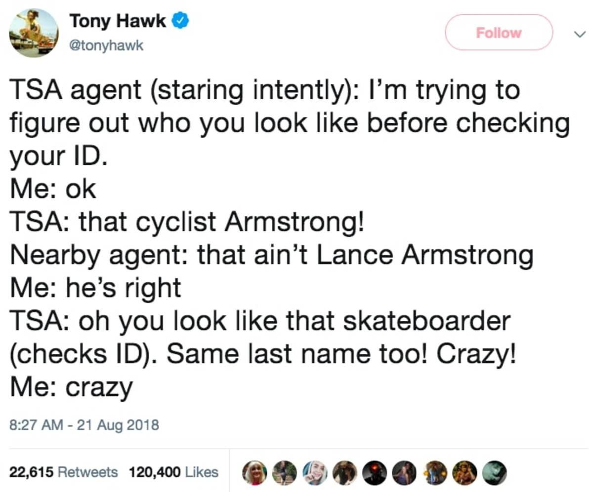 Tony Hawk unrecognized